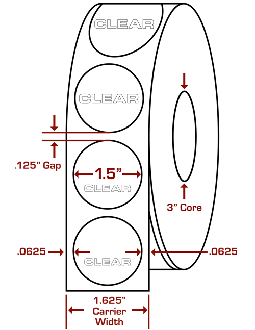 "1.5"" Round Clear Wafer Seals"