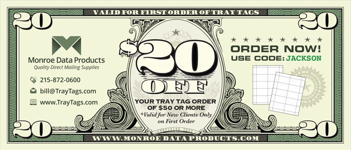 $20 Off Coupon Tray Tags